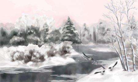 Winter Vector Watercolor Landscape