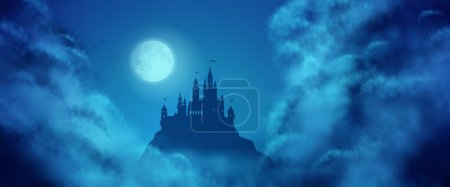 Illustration for Fantasy vector castle silhouette on the hill against moonlight sky with soft clouds texture. Fantasy night panoramic view - Royalty Free Image