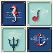 Vector marine theme icons Nautical travel symbol flat and shadow design set