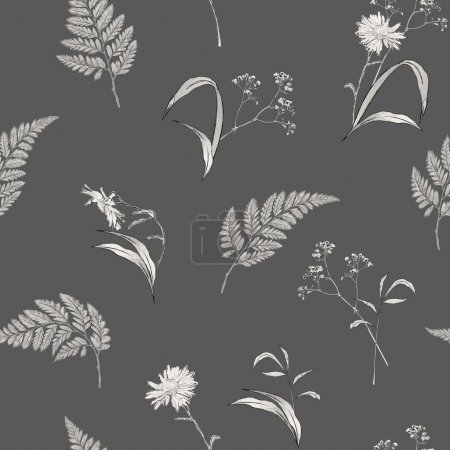 Illustration for Vintage vector seamless pattern with hand drawn flowers, plants. Retro floral wallpaper - Royalty Free Image