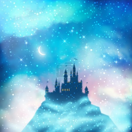 Illustration for Christmas winter vector castle silhouette on the hill - Royalty Free Image