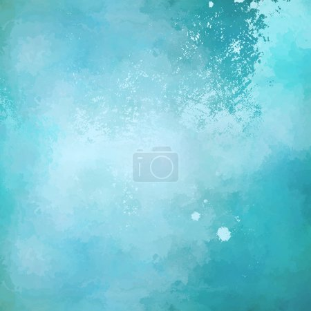 Illustration for Abstract blue vector watercolor background with subtle grunge painting texture - Royalty Free Image