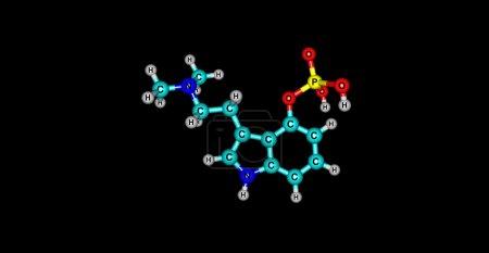 3D illustration of Psilocybin molecular structure isolated on black