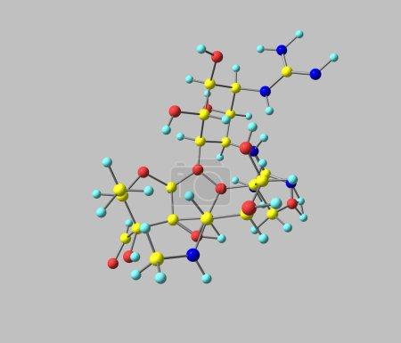 Streptomycin molecule isolated on grey