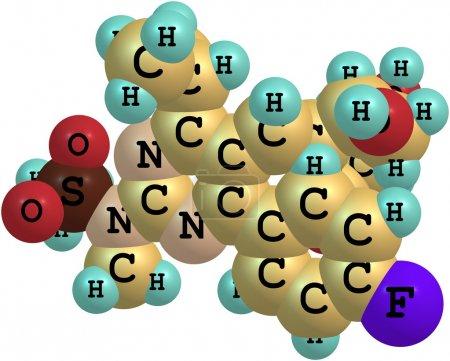 Rosuvastatin molecule isolated on white