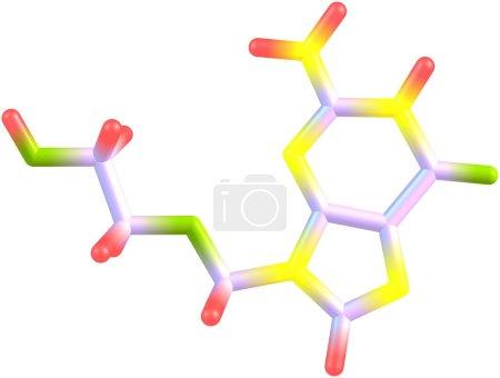 Acyclovir molecule isolated on white
