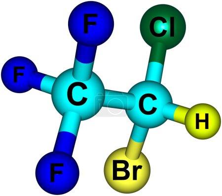 Halothane molecular structure isolated on white