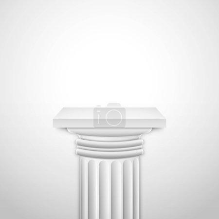 Realistic Classic Empty White Column.