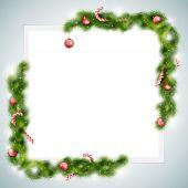Prázdný list papíru s vánoční atributy