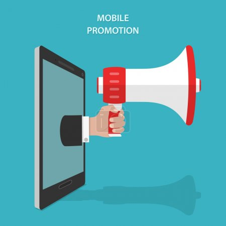 Mobile Promotion Flat Isometric Vector Concept.