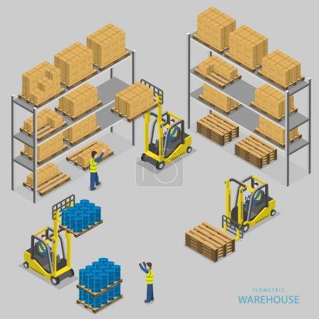 Warehouse loading isometric vector illustration.