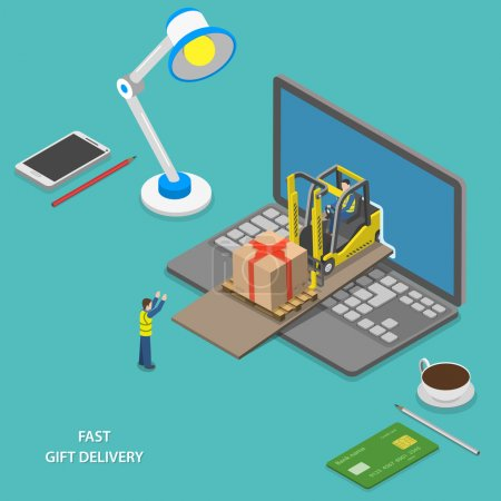 Fast gift delivery isometric vector illustration.