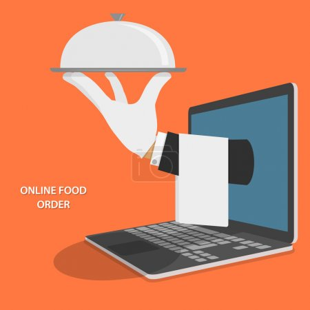 Illustration for Online Food Delivery Isometric Flat Vector Concept. Hand Of Water With Dish And Towel Appeared From Laptop. - Royalty Free Image
