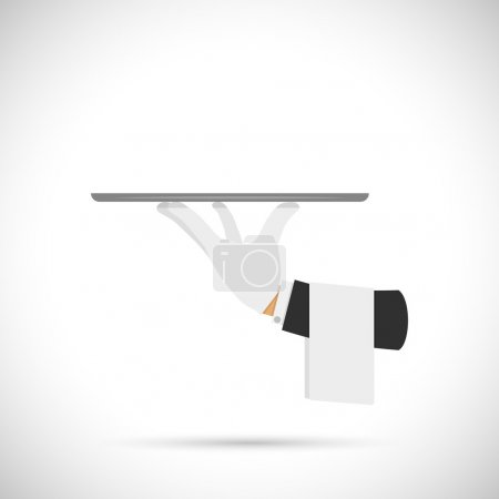 Illustration pour Main de serveur avec plateau et illustration vectorielle de serviette . - image libre de droit