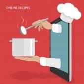 Koncept vektor recepty online nádobí