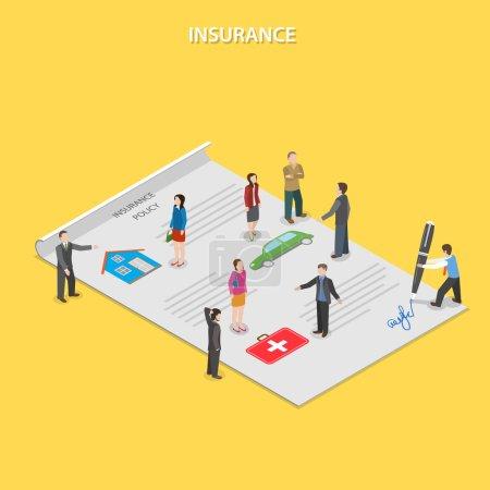 Illustration pour Police d'assurance isométrique plat vecteur concept. Agents d'assurance parler aux gens de conditions d'assurance. Toutes les personnes sont trouvant sur le papier d'assurance. - image libre de droit