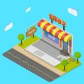 Online shop flat isometric vector concept