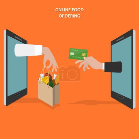 Illustration for Online food ordering flat vector concept. Hands of delivery man and customer appear from smartphone screen. - Royalty Free Image