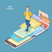 Web surfing isometric flat vector concept