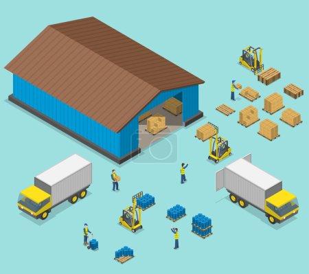 Illustration pour Illustration vectorielle plate isométrique de l'entrepôt. Processus de chargement et de déchargement de camions par les travailleurs à proximité d'un entrepôt . - image libre de droit