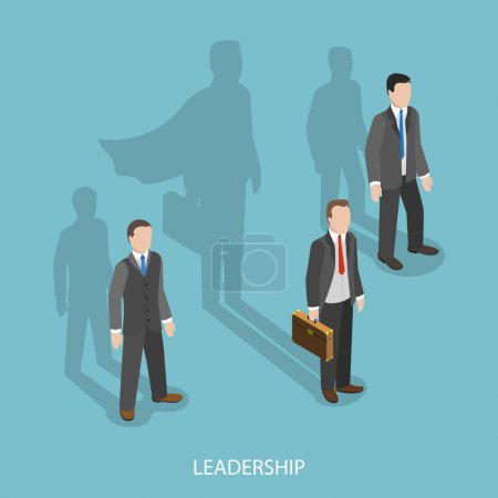 Illustration for Leadership isometric flat vector concept. Three businessmen with shadows on the wall. Shadow of leader looks like a shodow of superhero. The business advantage. - Royalty Free Image