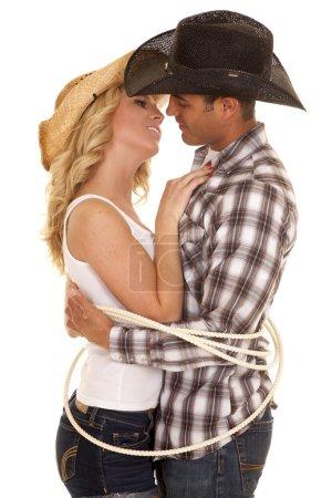 Cowboy couple ready to kiss