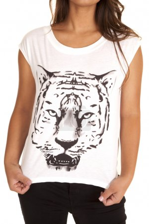 Woman in shirt with a tiger print