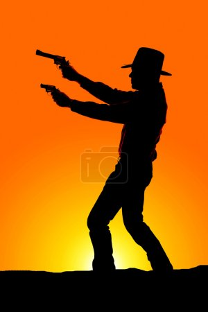 Cowboy silhouette with pistols