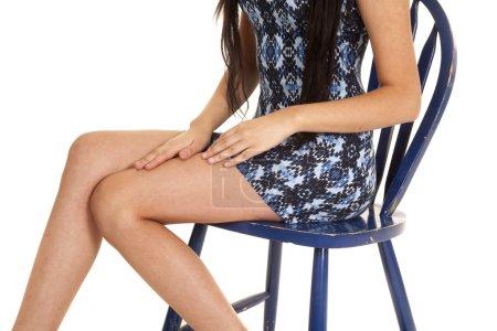 woman blue dress sit body