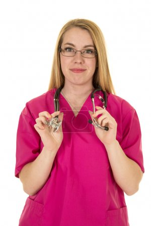 Nurse in glasses and in pink suit