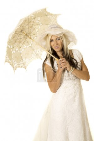 young beautiful bride with umbrella