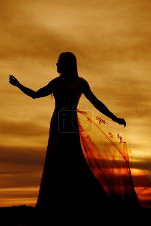 Silhouette of bride woman