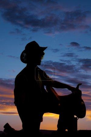 silhouette of cowboy man