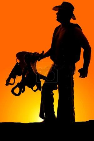 silhouette d'homme cowboy