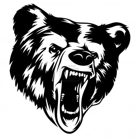 Illustration for Grizzly Bear head black-white vector illustration. It can be used as a print on T-shirts and other clothes - Royalty Free Image