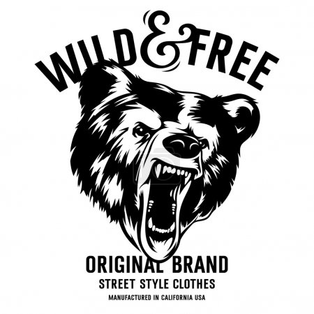Illustration for Wild and Free vintage typography with a  head of a grizzly Bear, t-shirt print graphics - Royalty Free Image