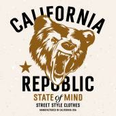 California Republic vintage typography with a  head of a grizzly Bear t-shirt print graphics Grunge background on separate layer