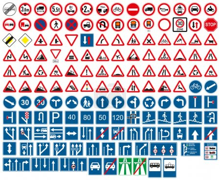 Illustration for Road signs. Vector illustrations. - Royalty Free Image
