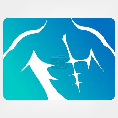 Torso. Athletic men silhouettes, vector symbols.