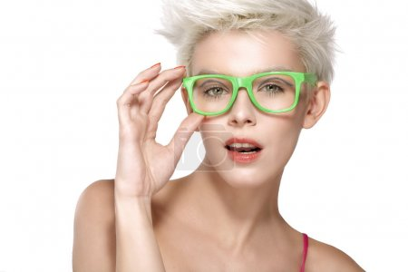 Pretty young blond model wearing cool eyeglasses