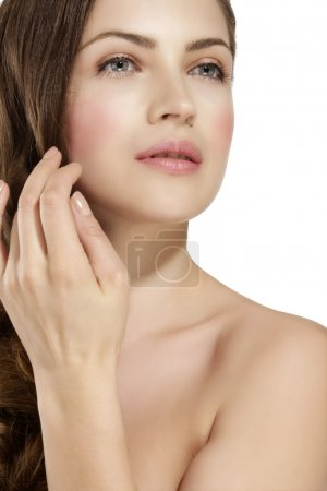 Skin of beauty young woman with redness, skin problems