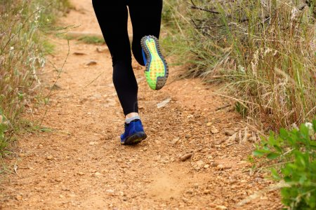Close up of woman's feet running