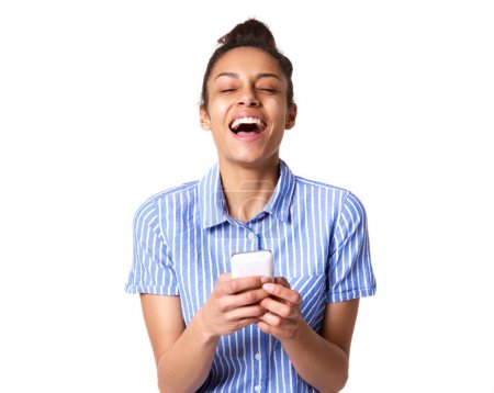 Cheerful woman with mobile phone