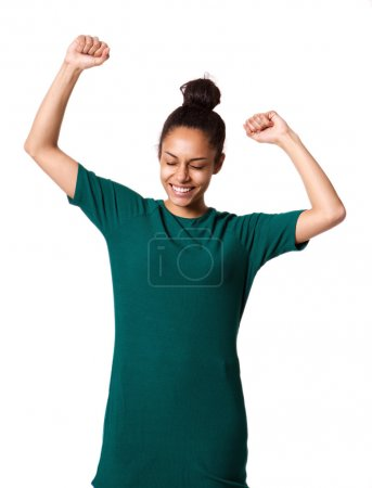 Attractive woman with hands raised in celebration
