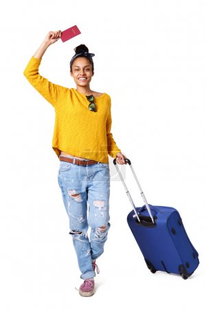 Trendy young woman going on vacation
