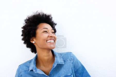 Photo for Close up portrait of smiling woman looking up on what background - Royalty Free Image