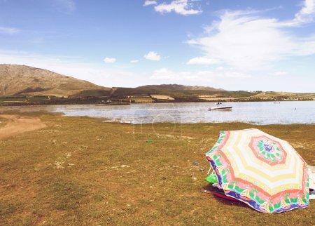 Photo pour Un parasol sur l'herbe au bord du lac dans la nature - image libre de droit