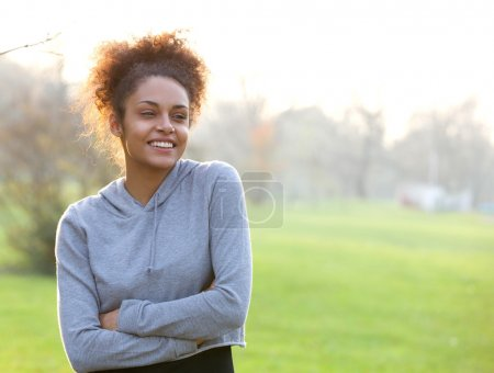 Attractive young african american woman outdoors