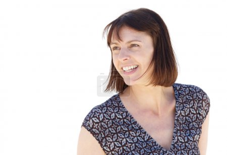 Smiling middle aged woman isolated on white background