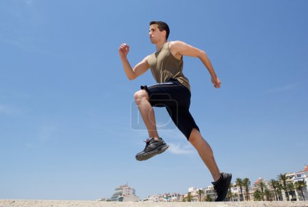 Active man running exercise workout outside